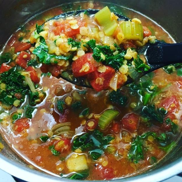 Tomato, Lentil & Kale Soup